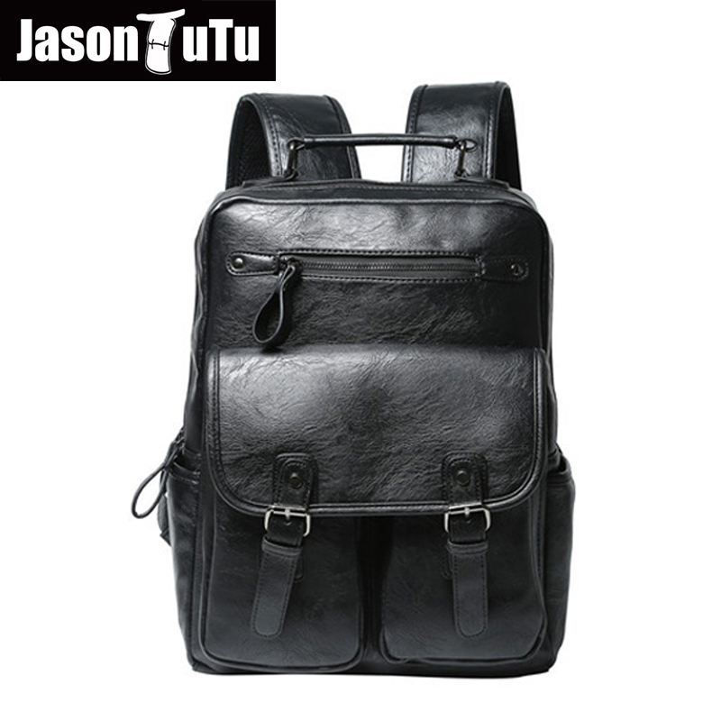JASONTUTU Brand Men Backpack Bags Large Men Travel Bag Luxury Designer Pu leather School Bag Laptop Backpacks mochilas B02 new vintage backpack canvas men shoulder bags leisure travel school bag unisex laptop backpacks men backpack mochilas armygreen