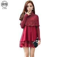 Top Fashion Long Sleeve Cape Dress Girls Cotton Dresses Women Turtleneck Warm Kleider with Lace Mini Short Dressing ED410