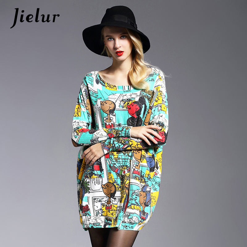 2017 New Kawaii Cartoon Printed Women's Sweater Autumn Fashion Loose Slash Neck Long Knitted Sweater Casual Clothes Green Red