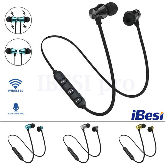 IBESI XT11 Wireless Headphone Magnetic Bluetooth Earphone Neckband Sport Bass Headset Handsfree Earbuds with Mic for Phone