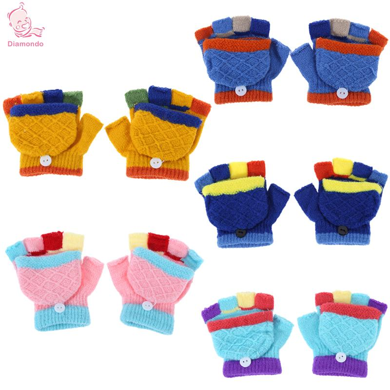 Fashion Children Knitted Elastic Finger Gloves Mittens Winter Unisex Baby Gloves Kids Cute Warm Outdoor Ski Gloves Hand Muff