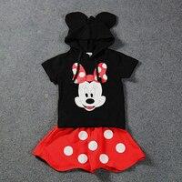 Moda nuove ragazze estate abiti 2 pezzi nero con cappuccio shirt + di estate red white dot pannello esterno delle ragazze boutique di abbigliamento per bambini set
