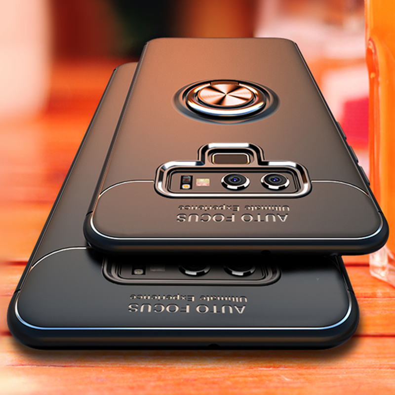 Luxury Bracket Ring Shockproof Case For Samsung Galaxy S8 S9 PLus Full Cover For Samsung Note 8 9 TPU Soft Silicone Holder Cases(China)