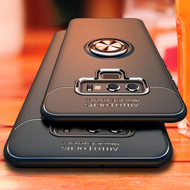 Luxo Anel Bracket Caso À Prova de Choque Para Samsung Galaxy S8 S9 Além de Cobertura Integral Para Samsung Nota 8 9 TPU Macio titular Casos de Silicone