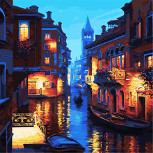 Night Venice Abstract Picture Painting By Number Acrylic DIY Digital Oil Kit Drawing by On Canvas For Home Decor