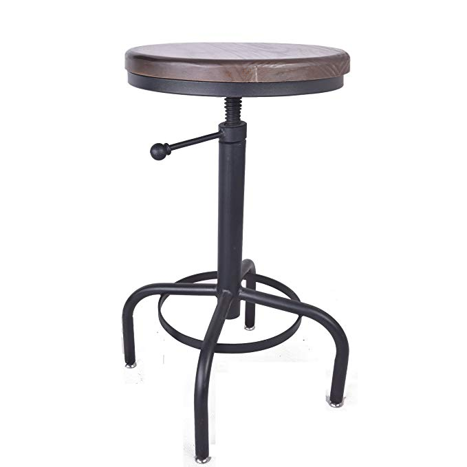 Chair American Antique Industrial Design Metal Adjustable Height Bar Stool Chair Kitchen Dining Breakfast Bar Chair Natural