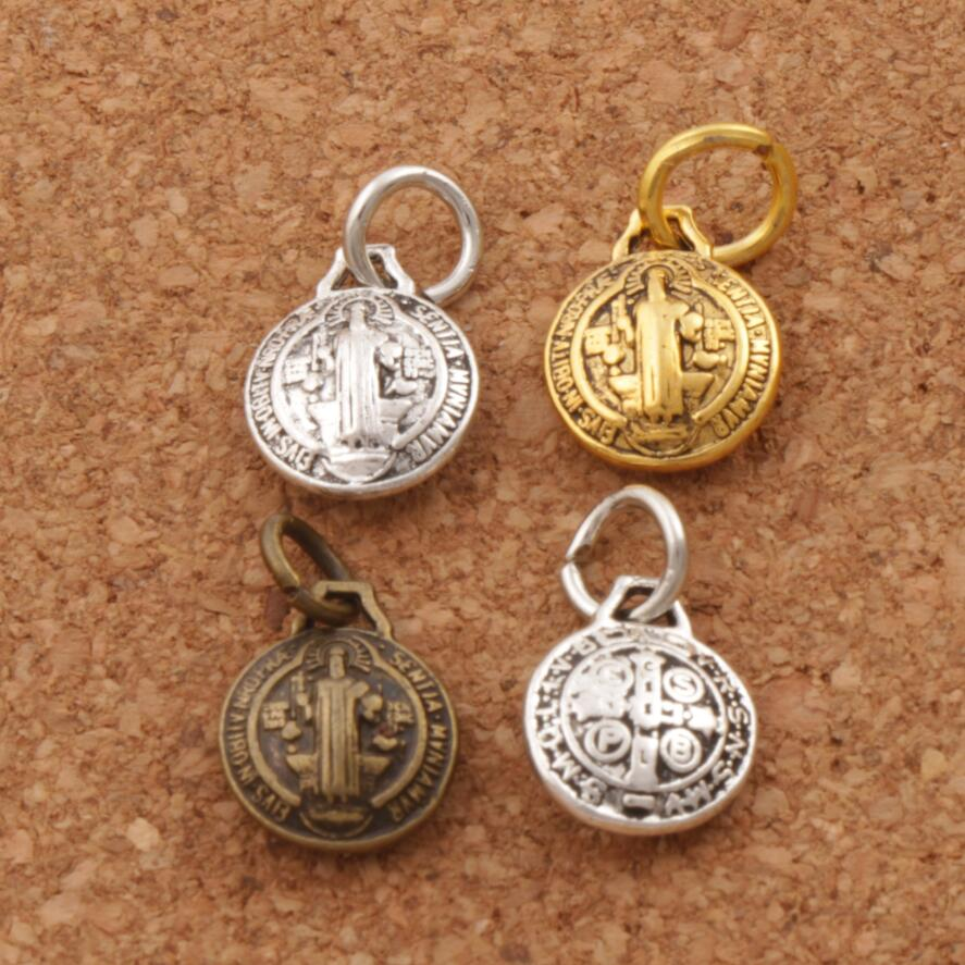 3D Saint Benedict Medal Cross Charm Beads the Protector 12X10mm 21PCS Antique Silver/Bronze/Gold Pendants T1765