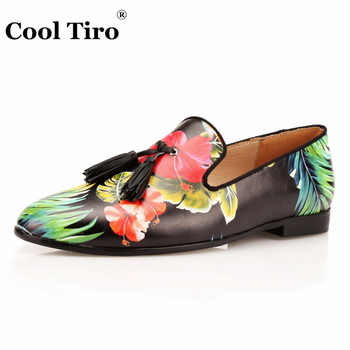 COOL TIRO Tassel Men Loafers Flowers Painted Printed Men\'s Moccasins SmokingSlipper Shoes Wedding Dress Shoes Flat Real Leather