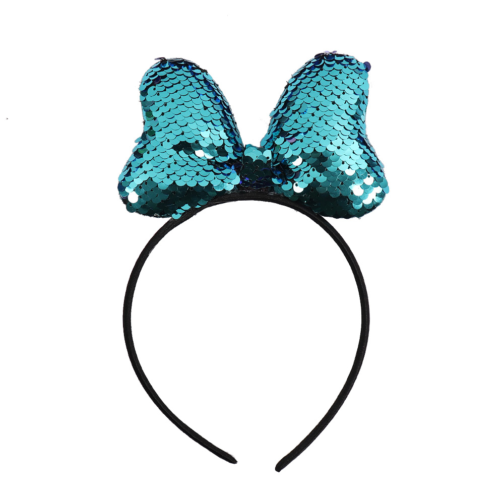 Kids Reversible Sequin Crown Minnie Mouse Ears Baby Hairband Baby Clothing Boutique Headband Photography Prop Hair Accessories