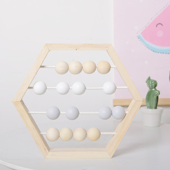 Nordic Style Nursery Kayu Abacus dengan Manik-manik Kerajinan Belajar Bayi Mainan Pendidikan Gaya Skandinavia Bayi Dekorasi Kamar