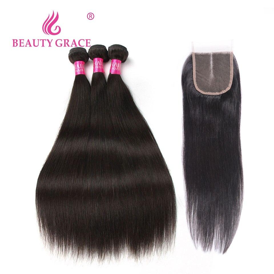 יופי גרייס פרואני שיער חבילות עם סגירת ללא רמי שיער טבעי 3 חבילות עם סגירה ישר שיער חבילות עם סגירה