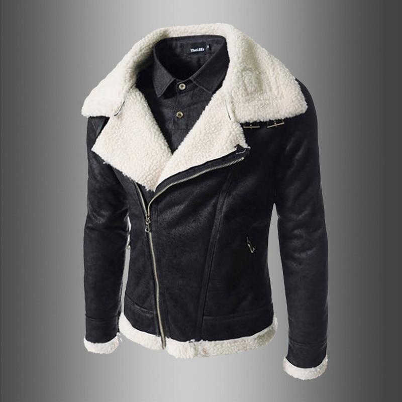 Jacket Sheepskin-Coat Winter Zipper for Men Stylish Men's Male Moto-jacket/Korean/Pop-style