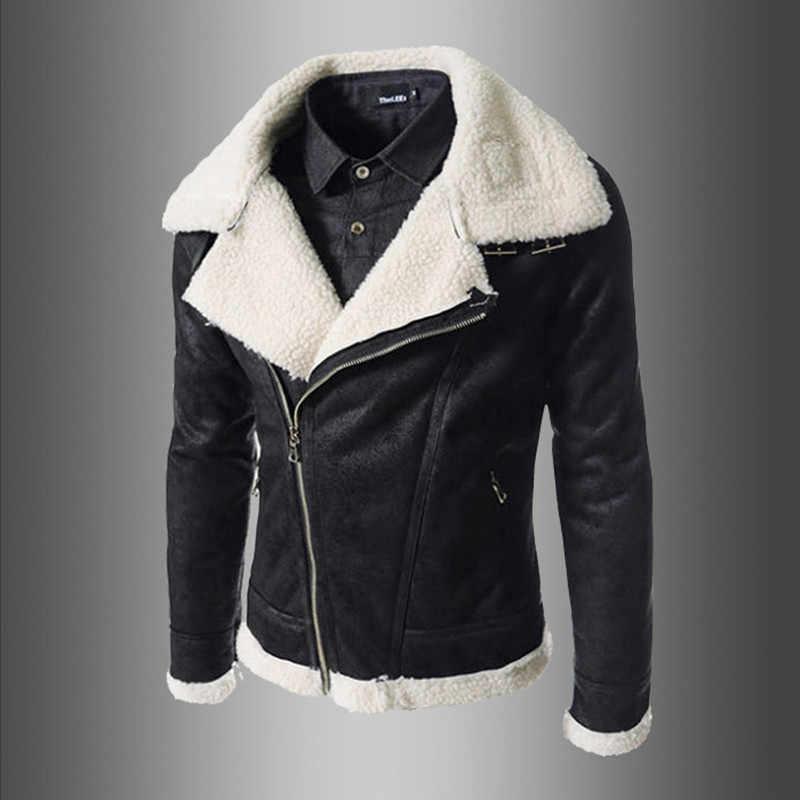 a1d8d5b58df Men Leather Jacket Winter Coat Sheepskin Coat For Men Stylish Men s Leather  Jackets Male Zipper Moto