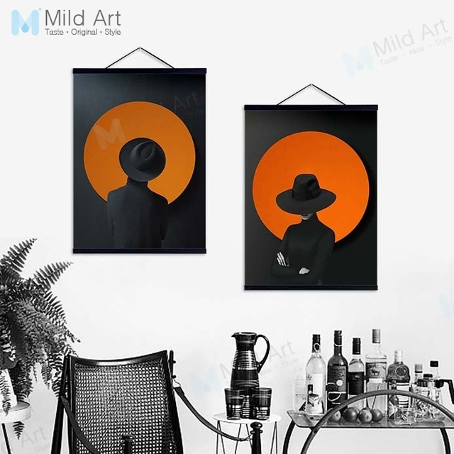 Black Orange Modern Abstract Shape Birds Hipster Wooden Framed Hanger Posters Wall Art Pictures Bar Decor Canvas Painting Scroll