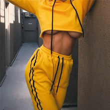 Crop Top Hip Hop Sportswear Women Solid Tracksuit Yoga Set Sport Hoodies Running Gym Fitness Yoga Suit Sports Suit Running Wear