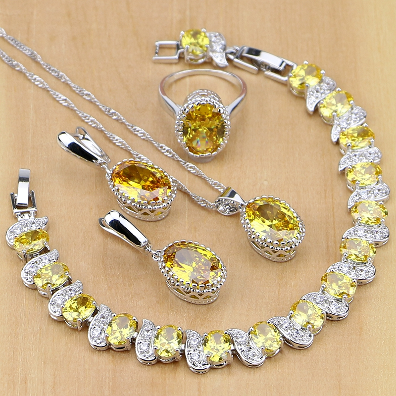 925 Sterling Silver Jewelry Yellow Cubic Zirconia Jewelry Sets For Women Earrings/Pendant/Necklace/Rings/Bracelet 925 sterling silver jewelry yellow cubic zirconia jewelry sets for women earrings pendant necklace rings bracelet