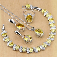 925 пробы Серебряные ювелирные изделия желтый кубический цирконий, ювелирные комплекты для Для женщин серьги/кулон/Цепочки и ожерелья/кольца/браслет