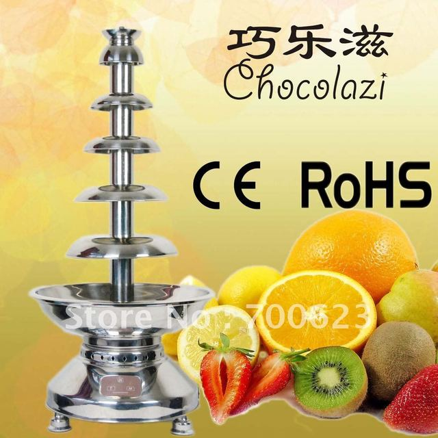 6 Tiers 100CM Stainless Steel Chocolate Fountain Machine Free Shipping