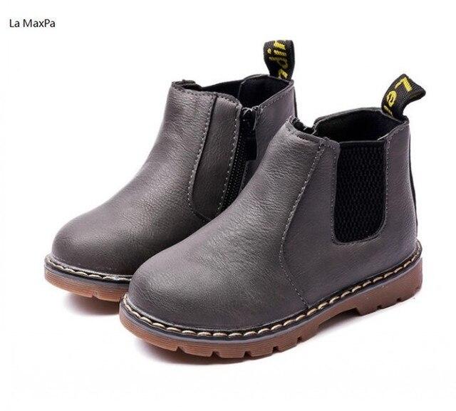 La MaxPa Çocuk Ayakkabı Erkek Botları Yeni Sonbahar Kış Moda Martin Erkek Ayakkabı Çocuklar Yumuşak Açık Kız Bot Ayakkabı Boyutu 21-36