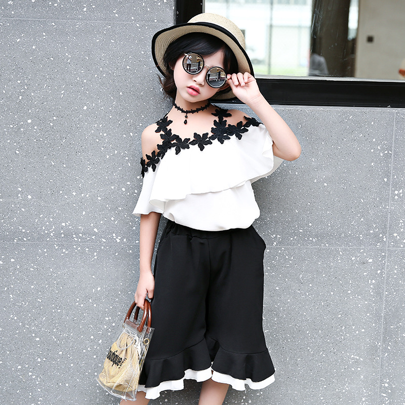 2018 Kids Girls Clothes Set Summer Girls Clothing Sets Teenage Kids Suits White Blouses Shirts + Wide Leg Pants 11 12 13 14 Year 2018 new big girls clothing sets summer t shirts tops shorts suits 2 pieces kids clothes baby clothing sets 6 8 10 12 14 year