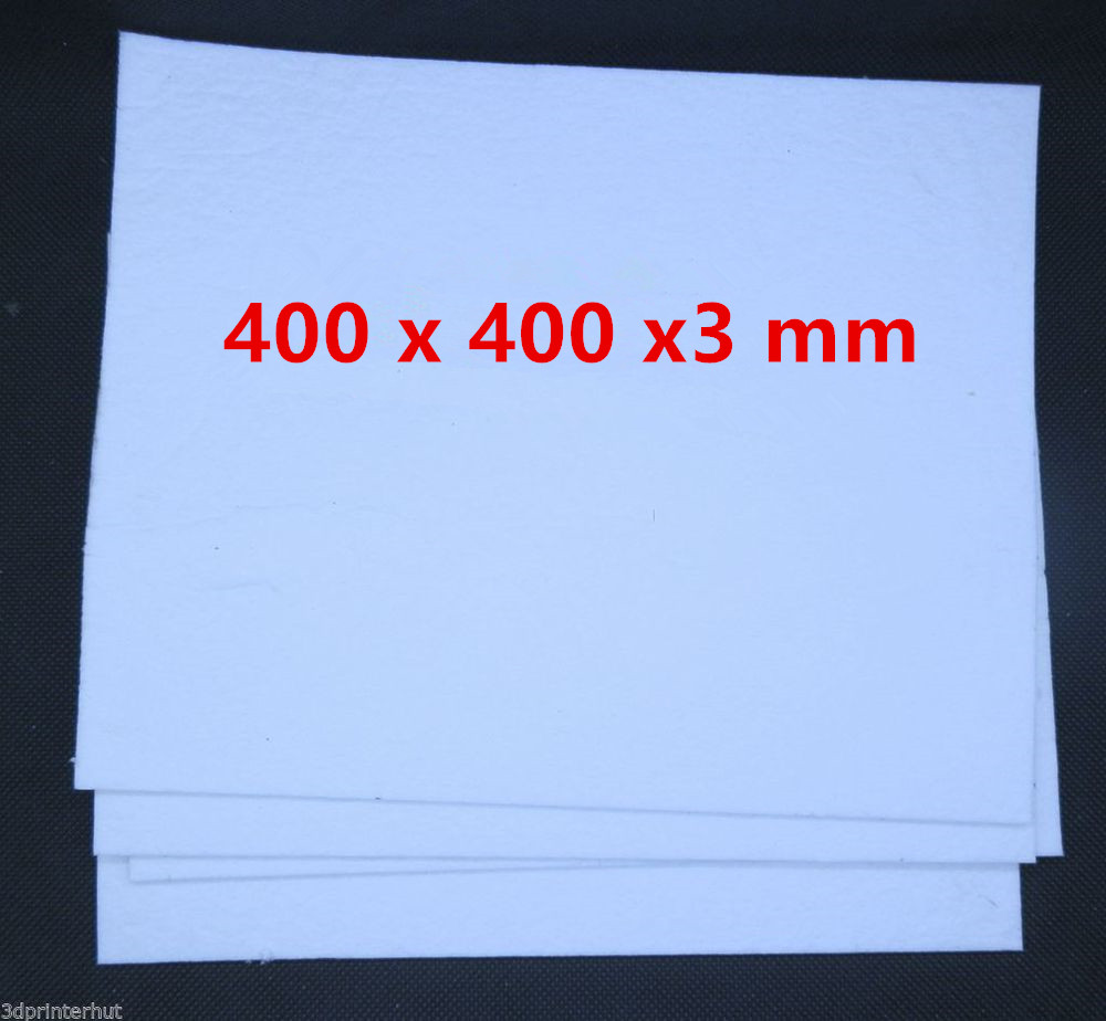 Funssor 4pcs 400x400 mm ceramic Insulation Cottons 3 mm thickness for reprap 3D Printer Heated Bed insulation cotton plate