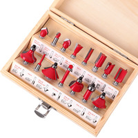 15pc 1 4 Router Bit Set Shank Tungsten Carbide Rotary Tool Wood Case Box Milling Cutter