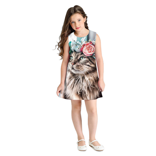 Dresses for Cartoon Teen Girl with 3D Printing Casual Clothes