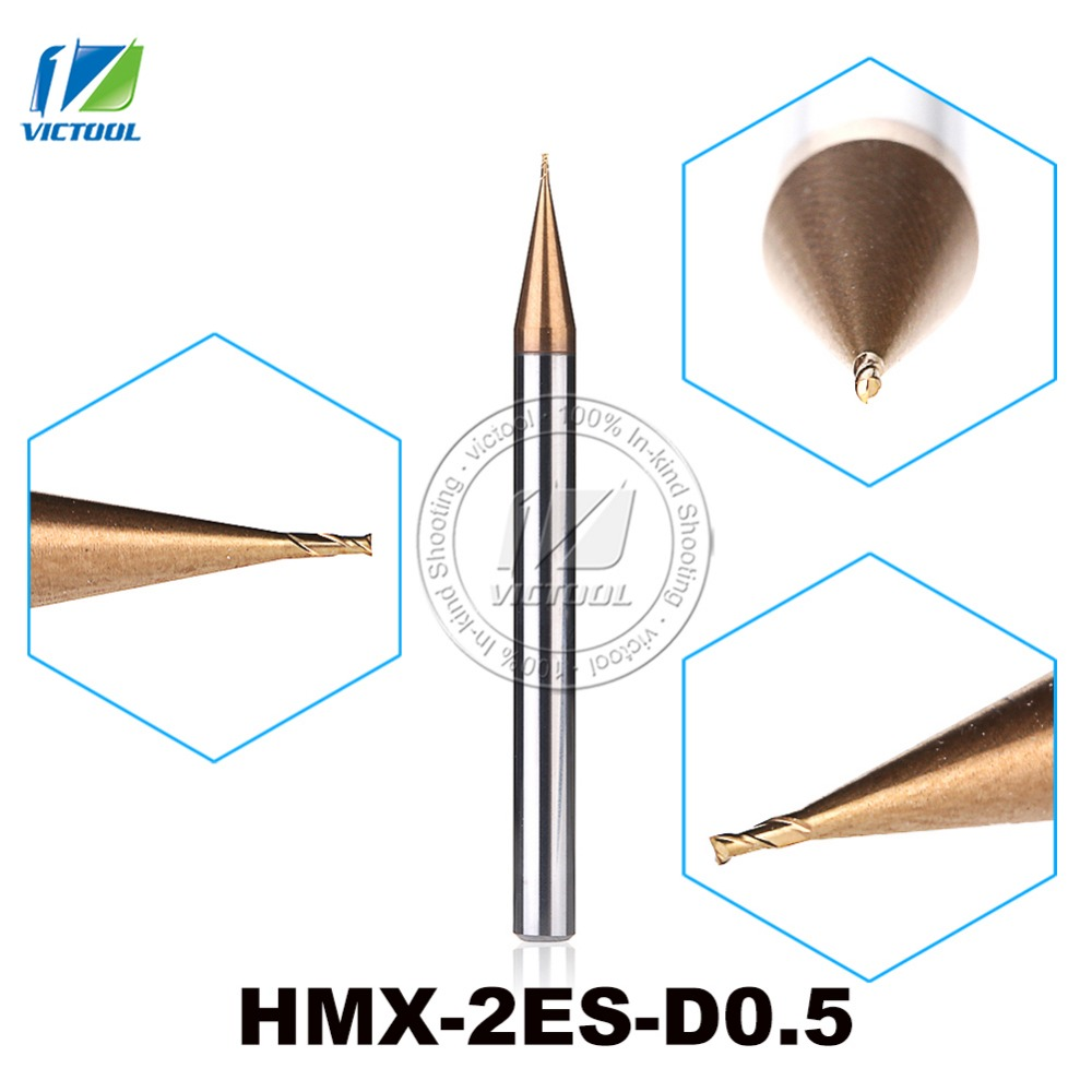 2PCS/Lot HMX-2ES-D0.5 Cemented Carbide 2-Flute Flattened End Mills Cutter End Mills Straight Shank Tiny Diameter Cutting Tools zcc ct hm hmx 2efp d12 0 solid carbide 2 flute flattened end mills with long straight shank and short cutting edge
