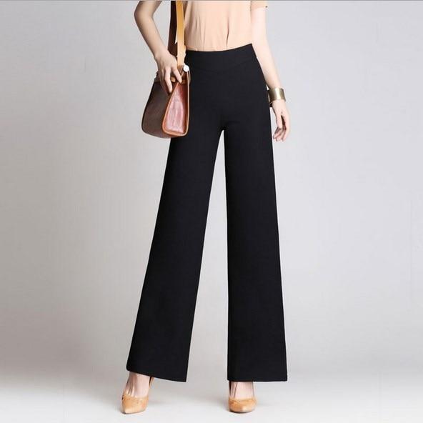 Plus Size Women High Waist Formal Pants Spring Summer Autumn Straight Bell  Bottom Pants Female Slim Wide Leg Trouser Black Khaki-in Pants   Capris from  ... 9dbe0d0118ab