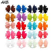 20pcs/lot 4 Hair Bows for Girls Elastic Band Handmade Fashion Small Bowknot Ponytail Gum Rope Kids Solid Tie