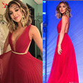 Red Long Formal Celebrity Dresses Chiffon Backless Prom Party Dress 2016 New Floor Length Special Occasion Gowns  Arabic Dress