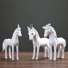 MRZOOT Nordic Style Creative Resin Crafts Gift Ornaments Cute Fresh Unicorn Office Desktop Home Decoration