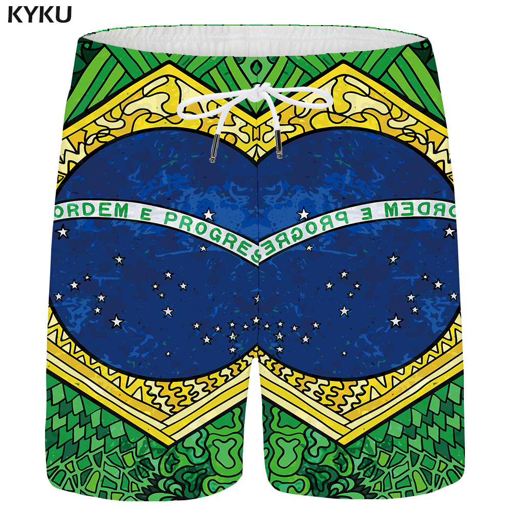 KYKU Brazil Shorts Men Flag Green Beach Shorts Casual 3d Print Galaxy Short Cargo Hawaii Mens Short Pants 2018 Summer Plus Size