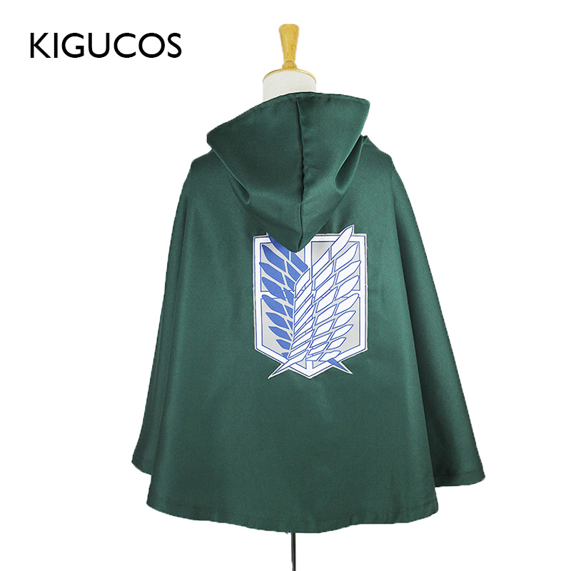KIGUCOS Attack on Titan Cape Black And Green Anime Shingeki No Kyojin Scouting Legion Cloak Eren Levi Cosplay Costumes