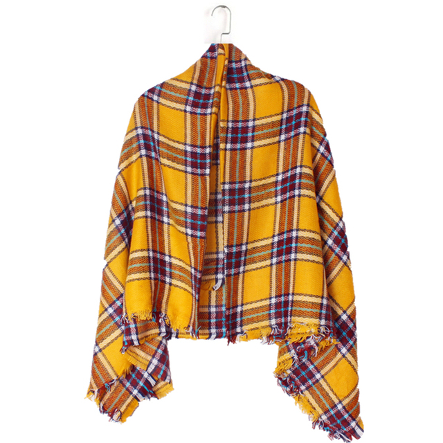 ZA 2016 New Arrival Winter Fashion Women Euro Brand Design Geometric Yellow Grid Square Scarf Big Shawls 140cm*140cm