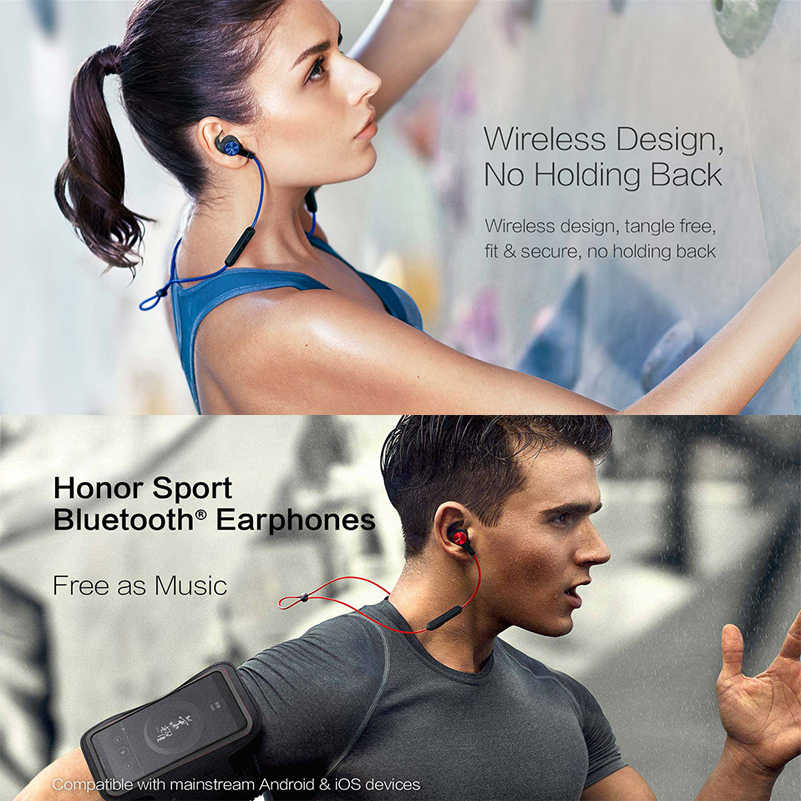 Huawei Honor xSport AM61 auriculares Bluetooth IPX5 impermeables BT4.1 Control de micrófono de música auriculares inalámbricos para Android IOS