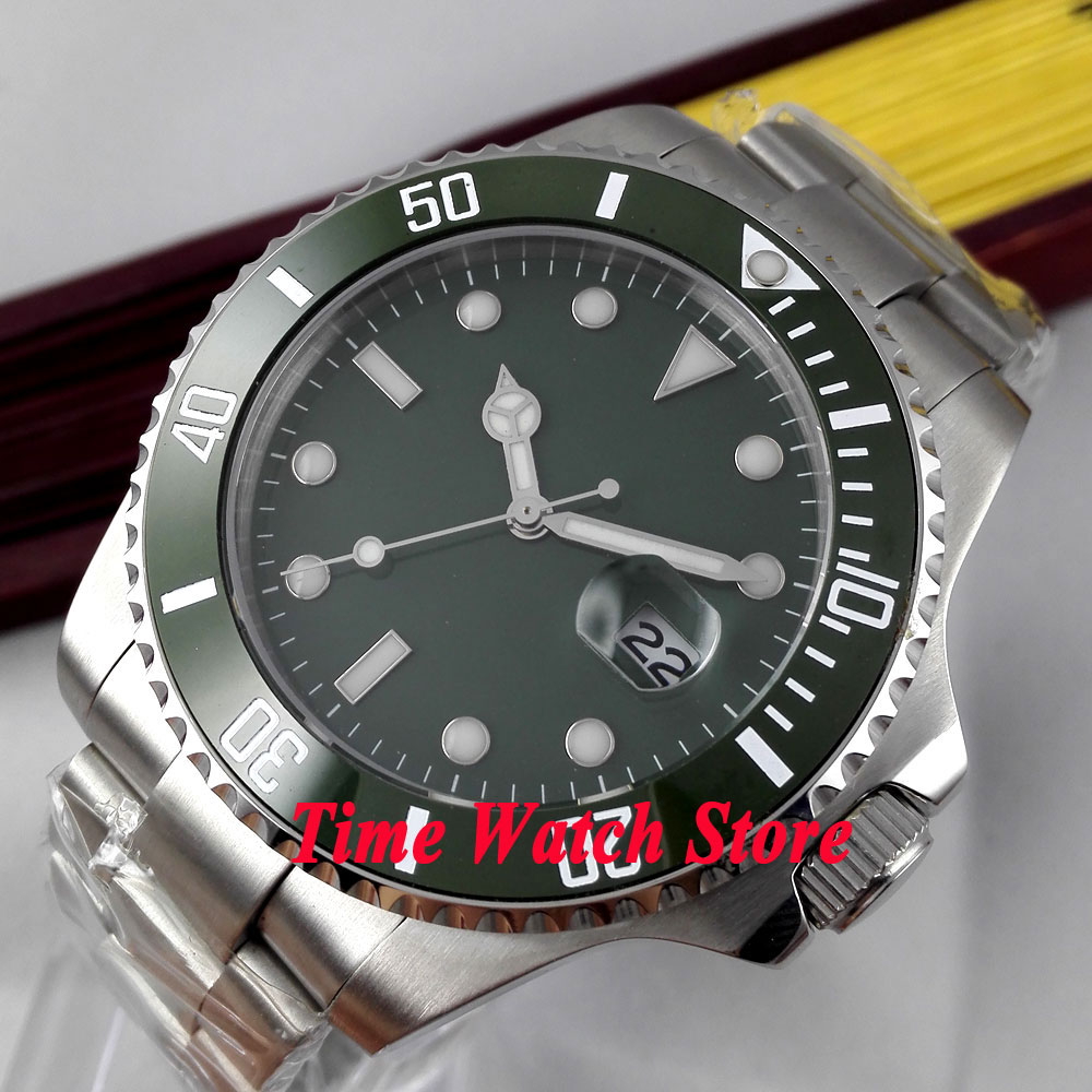 Bliger 43mm green Sterile dial Luminous green Ceramic Bezel sapphire glass MIYOTA Automatic movement Mens watch 303ABliger 43mm green Sterile dial Luminous green Ceramic Bezel sapphire glass MIYOTA Automatic movement Mens watch 303A