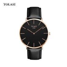 New TOLASI Brand dw style leather Quartz wristwatch waterproof business Watch top quality women men famous clock Luminous luxury