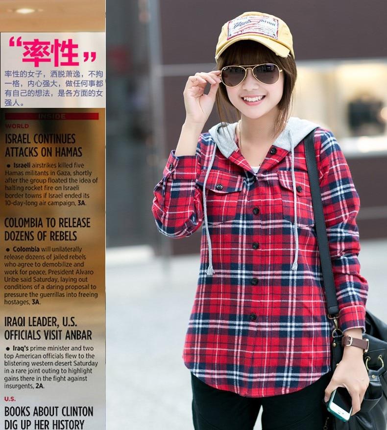 7d2e7ecbf308 Long Sleeve Plaid Shirt Hoodie Flannel 2015 New Autumn Student Checkered  Shirt Women Blouses Cell Women Red Plaid Hooded Shirt