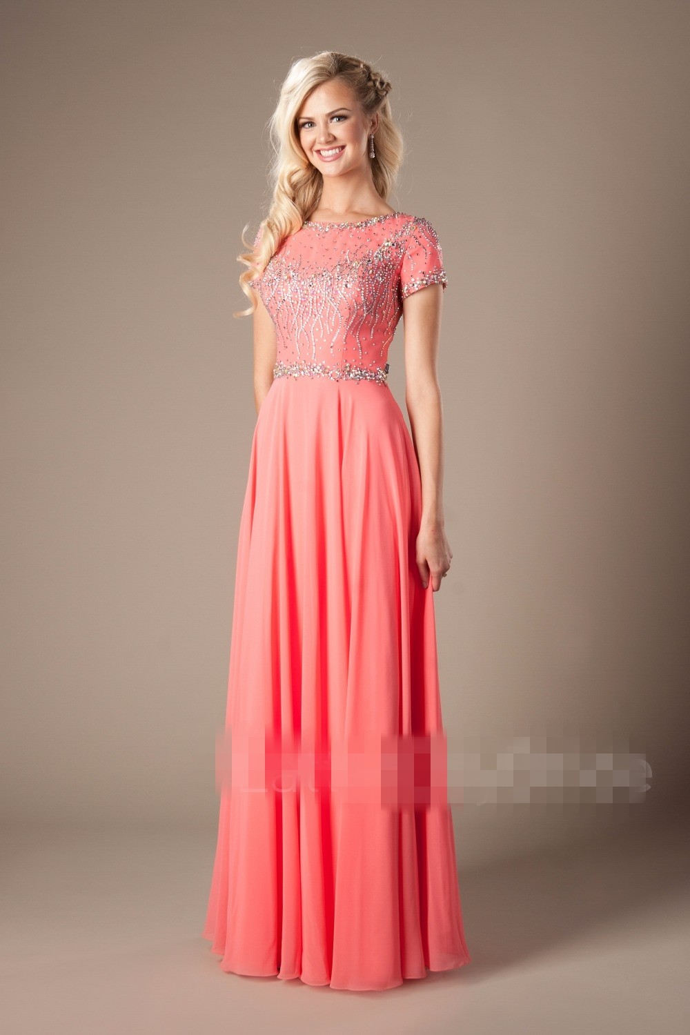 2019 Coral Blue Beaded Chiffon Modest Prom Dresses With Short Sleeves Jewel Neck A-line Teens Formal Evening Wear Modest Cheap