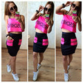 2016 Summer Sexy Halter Crop Top And Skirt Set Letter Print Sportswear Women Clothing Set Casual High Waist Skirt And Top Set