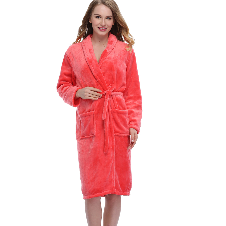 High Quality Winter Thick Warm Flannel Gown Sleepwear Kimono Robe ...