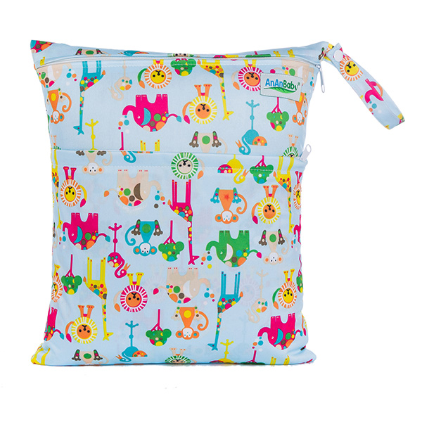 Mummy Baby Bag Reusable Prints Large Dry Wet Bag Cloth Diaper With Zippered Pockets Size 30*36cm