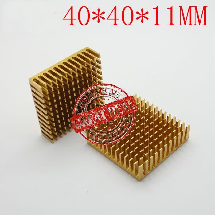 Free Ship 100PCS  Aluminum IC Heatsink 40*40*11MM Chip Thermal Block High Quality Chipset Heatsink Breaking Groove Gold