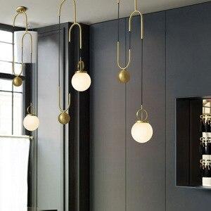 Image 5 - American Post modern Electroplating bronze Stretchable Glass pellet Chandelier Bedroom machine head Living room Coffee shop