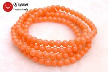Qingmos Natural Coral Bracelet for Women with 5-6mm Round Pink Coral Long Necklace Bracelet Fine Jewelry 30 Colar Femme Bra297 fast shipping stunning 8rows 6mm round crude pink coral necklace g165