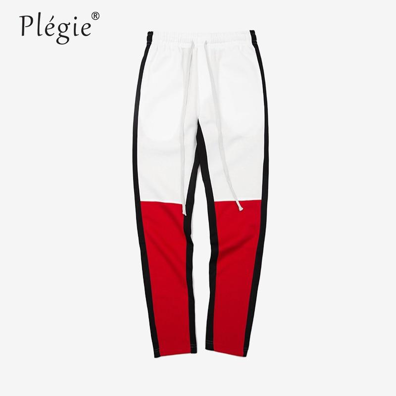 Plegie 2018 Mens Motocross Trackpants Slim Fit Fashion Men High Streetwear Patchwork Joggers Trousers Dropshipping