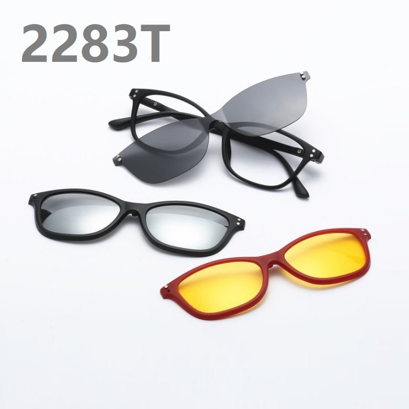 new eyeglass frame with 3 clips on sunglasses frame women UV400 polarized lenses men retro 3+1 three pieces Clips frame eyewear