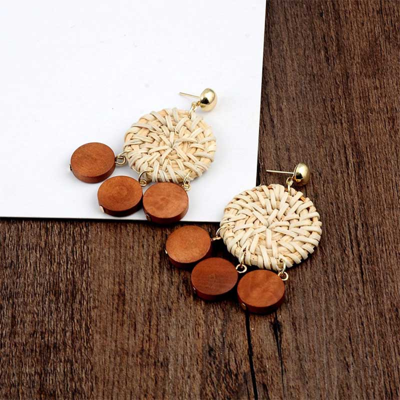 Geometric Wooden Straw Weave Women Beach Bohemian Circle Holiday Dangle Summer Drop Earrings Square Rattan Jewelry Earrings 11