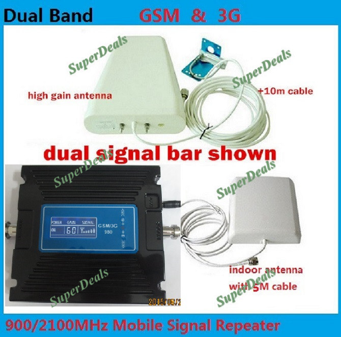 Adjustment gain ! High gain Dual band 2G,3G signal booster KIT GSM 900 3G 2100 signal repeater amplifier Double signal barAdjustment gain ! High gain Dual band 2G,3G signal booster KIT GSM 900 3G 2100 signal repeater amplifier Double signal bar